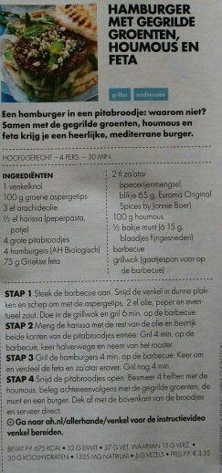 Hamburger met gegrilde groenten, houmous en feta