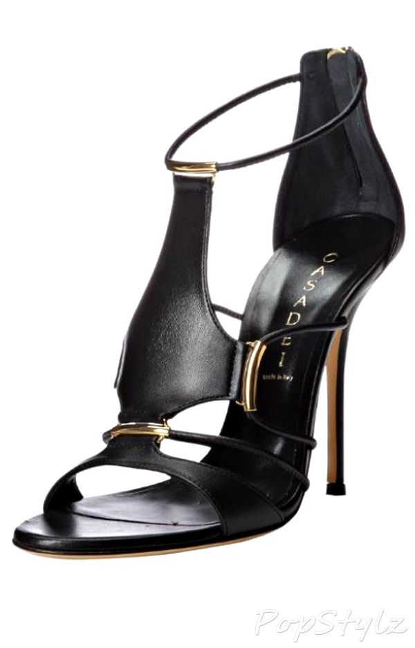 Casadei Peplum Leather Dress Sandal