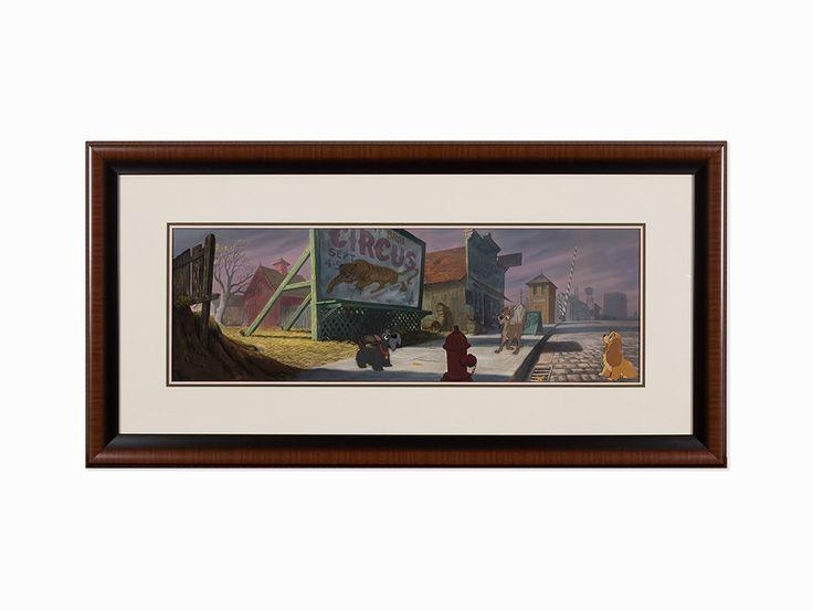 """Walt Disney Studios, 'Lady and the Tramp', 1955, mis en vente lors de la vente """"Icônes de l'Animation & de l'Illustration"""" à Auctionata U.S.   Auction.fr"""