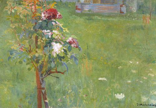 Jacek Malczewski  Garden with Blooming Rosebushes  19th century