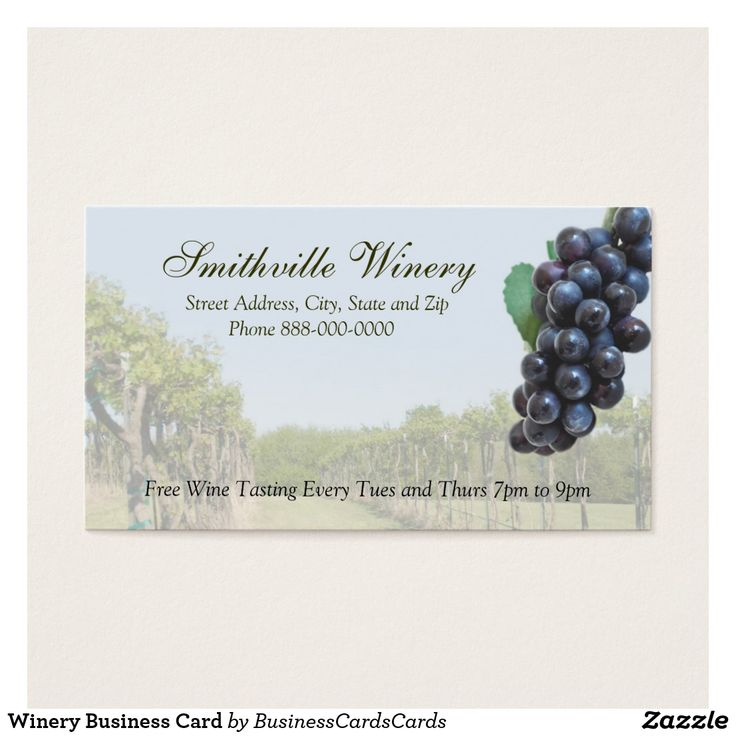 Winery Business Card Custom Check out more business card designs at http://www.zazzle.com/business_creations or at http://www.zazzle.com/businesscardscards
