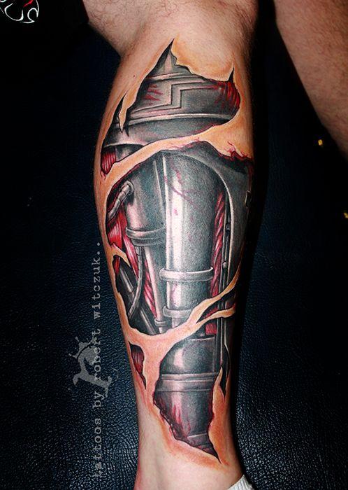 Terminator Leg Tattoos by Robert Witczuk   colour tattoos ...  Terminator Leg ...