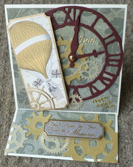 Steam punk Kanban toppers used on handmade card, with tim holtz cogs and weathered clock die cuts with chronology papers