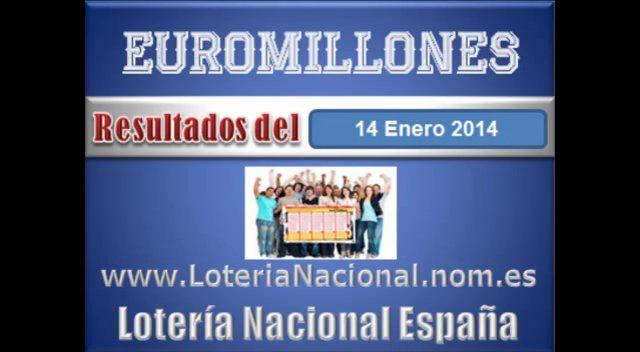 Loteria Nacional presenta Euromillones sorteo dia Viernes Martes 14 de Enero de 2014. Creditos: www.loterianacional.nom.es