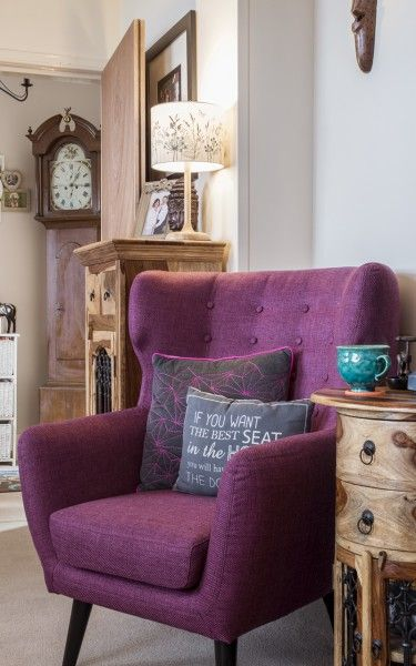 Inspired by the 1960s take on a classic eighteenth century design, the Kubrick Wing Back Chair in plum purple makes a striking retro statement.