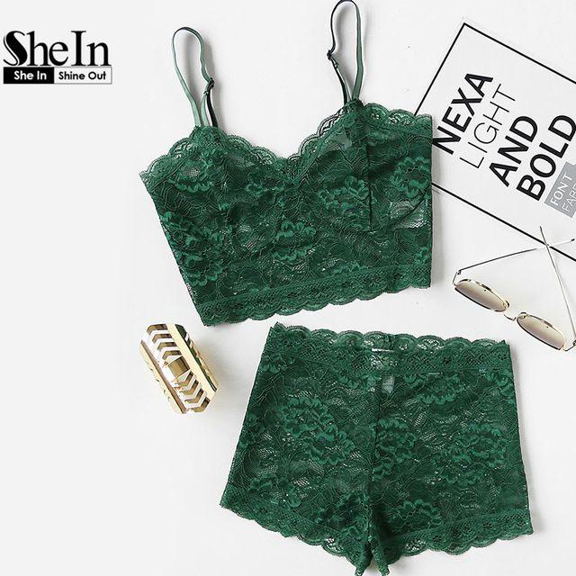 Шеин зеленый комплект из двух предметов летние пикантные элегантные комплекты белья женские цветочные кружева бюстье укороченный футболка и шорты пижамный комплект