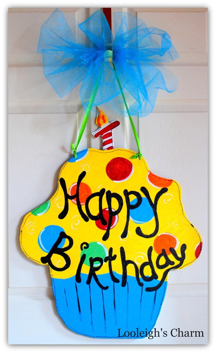 Decorative door hangers craft - Happy Birthday Door Hanger Birthday Decoration By Looleighscharm 45 00