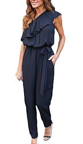 6337e7384993a Minetom Mujer Verano Atractivo Mono Color Sólido Jumpsuits Elegante One- Hombro Bodysuit Pantalones Largos para Fiesta Playa Clubwear Negro ES 38