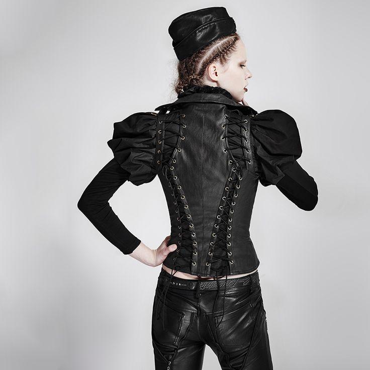 Gothic Steampunk Damen Leder Weste Aouda