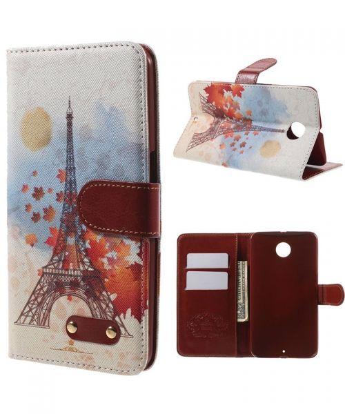 Motorola Nexus 6 Lederen Wallet Stand Case Eiffeltoren Style pattern