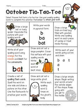 tic tac toe homework template - the 25 best spelling homework menu ideas on pinterest