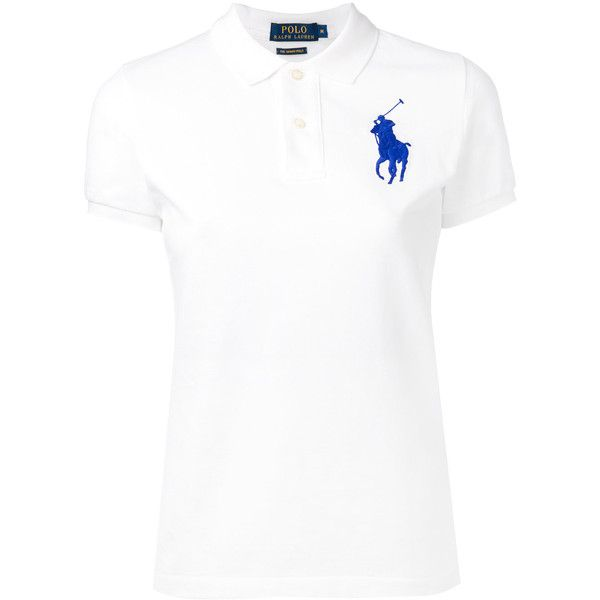 Polo Ralph Lauren large logo polo shirt ($94) ❤ liked on Polyvore featuring tops, white, white polo shirt, logo top, polo ralph lauren, white top and polo shirts