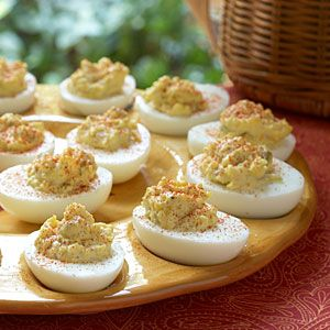 #Tailgating--Blue Deviled Eggs: Try a simple Southern side for a Blue Devil-inspired dish. Add a dash of paprika for a pregame crowd-pleaser   MyRecipes.com