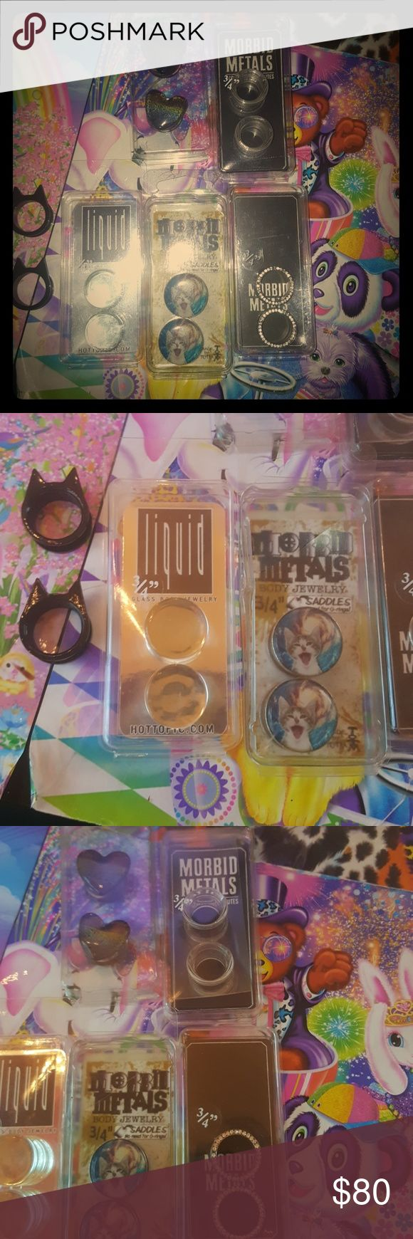 3/4 Gauges plugs tunnels 15 each rainbow glass plugs clear
