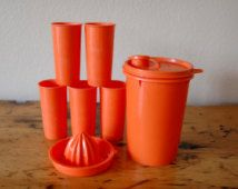 Vintage Orange Tupperware Juice Set, Vintage Tupperware Citrus Juicer Tupperware Juice Glasses Juice Canister from The Eclectic Interior