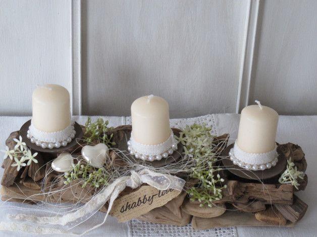 Kränze - Tischdeko * shabby-love TREIBHOLZ * Kerzenhalter - ein Designerstück von KRANZundCo bei DaWanda