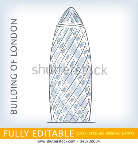 Commercial skyscraper St Mary Axe. Sketch line flat design of business architecture, famous building of London. Modern vector illustration concept. Fully editable outlines, saved brushes and layers.