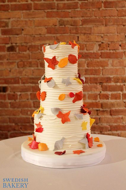 Fall Textured Branch Wedding Cake