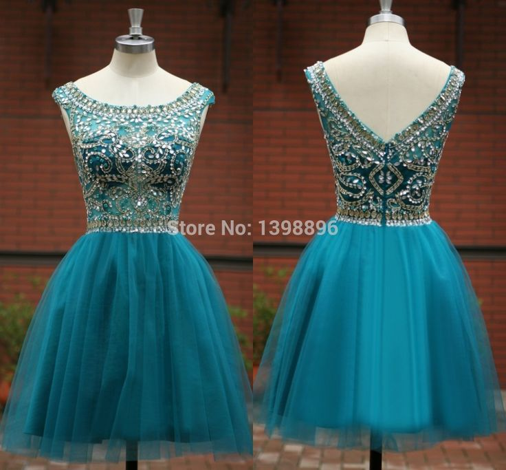 Real Made 2015 Gorgeous Graduation Dresses backless prom dresses tulle beaded short blue homecoming dress vestidos de festa