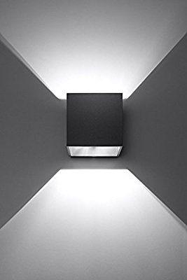 K Bright 12w Lampe Murale Contemporaine En Aluminium Noir Avec