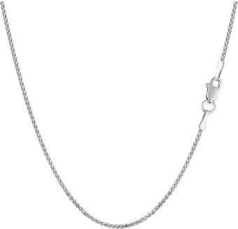 JewelryAffairs 14k White Gold Round Diamond Cut Wheat Chain Necklace, 1.15mm, 16 Inch.