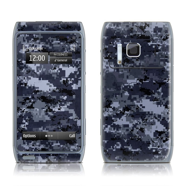 Digital Navy Camo design seen here as a Nokia N8 Skin kit with matching screen wallpaper graphic    We have a few different camo designs for those who love the hunter or military look!