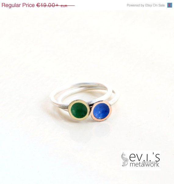 On Sale Tiny Blue Green Discs Slim Ring Custom by evismetalwork, €16.15