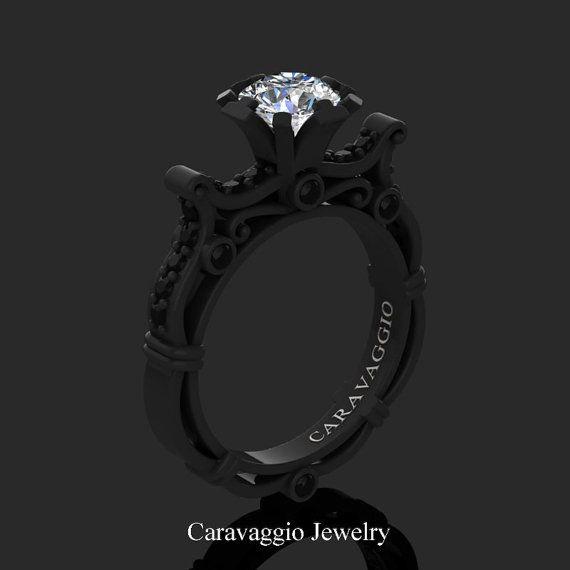 Caravaggio Venetian 14K Black Gold 1.0 Ct White by artmasters