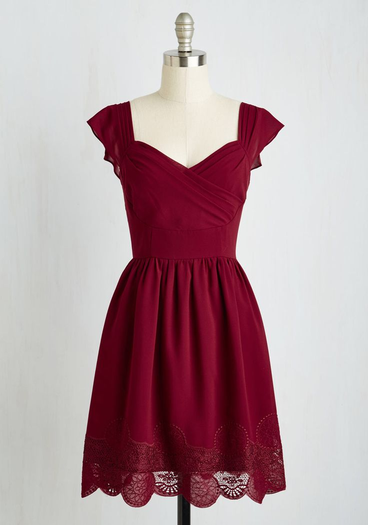 Let's Reminisce A-Line Dress in Cranberry, #ModCloth