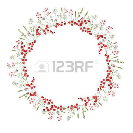 Detailed contour wreath with herbs red berries and wild stylized flowers isolated on white Round fra Stock Vector