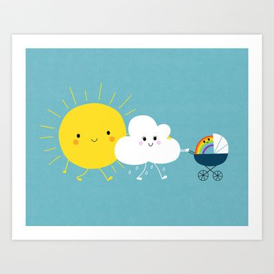 The+weather+family+Art+Print+by+Jean-Sébastien++Deheeger