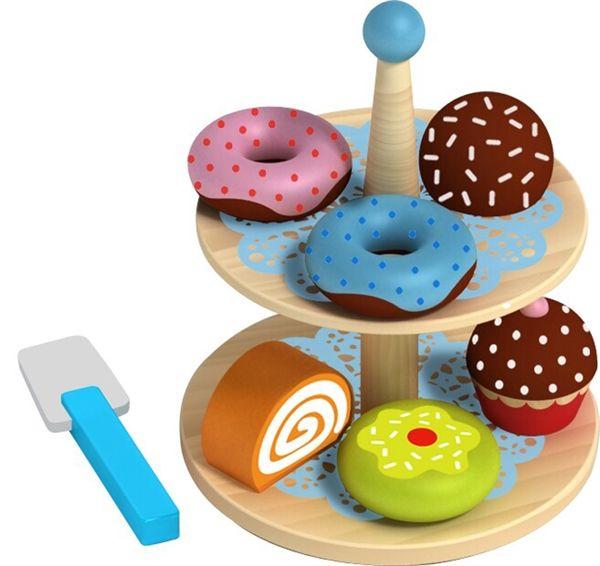 Kagefad m. donuts & kager i træ - Halløj.dk