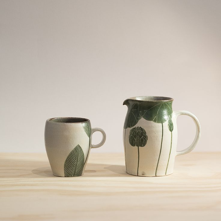 Pitcher and cup by Momoko Otani.  Available in store.