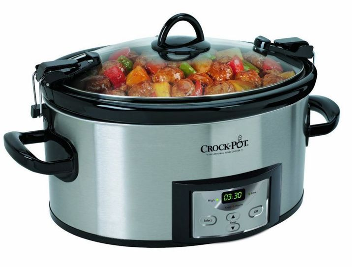 6 Quart Programmable Cook and Carry Slow Cooker On The Go 3 Settings Camp Travel #CrockPot