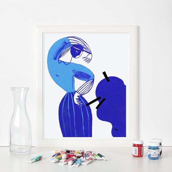 Blue Dress von Gosia Herba.  Archival Großdruck von meinem original Gouache auf Papier malen.  Dies ist eine hochwertige Giclee print auf TECCO MATT
