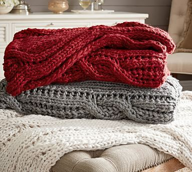 In person, the cream Chunky Cable Handknit Throw is pretty much the most amazing blanket ever.  +#potterybarn