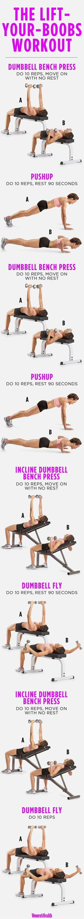 """Push-ups and padding aren't your only options, though. """"Developing the muscles underneath your breasts will enhance the look of your breasts and make them appear larger,"""" says Jen Comas Keck, a certified personal trainer and former figure competitor."""