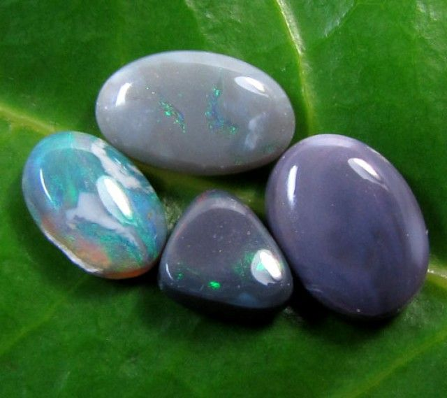 1.2 CTS BLACK OPAL 4 PIECES    PL 874  BLACK OPAL PARCEL DEAL FROM LIGHTNING RIDGE NEW SOUTH WALES AUSTRALIA FROM OPALAUCTIONS.COM