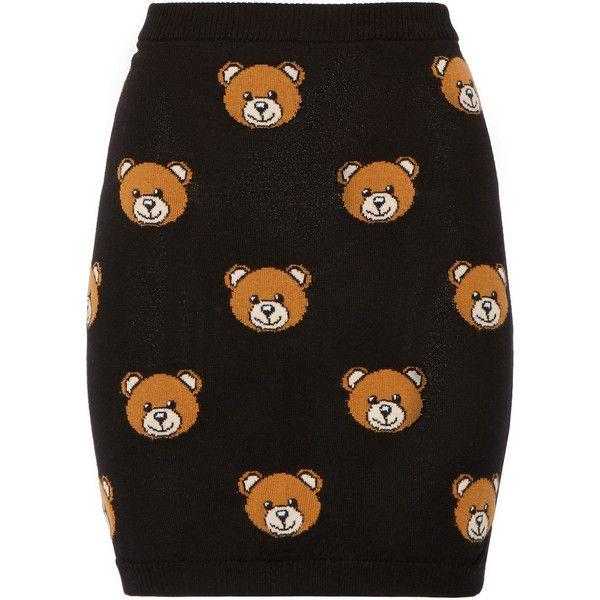 Moschino Bear-intarsia wool mini skirt ($325) ❤ liked on Polyvore featuring skirts, mini skirts, bottoms, moschino, black, short black mini skirt, wool mini skirt, elastic waist skirt and woolen skirts