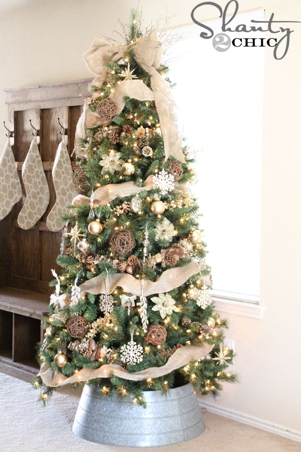 Natural, gold, silver Christmas Tree. #justaddmichaels