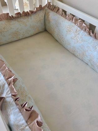 Champagne and Blue Toile Crib Bumper