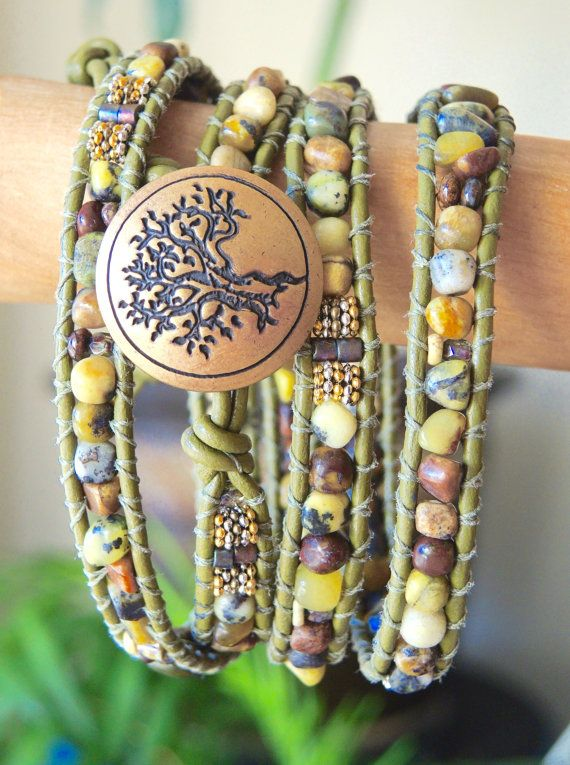 Rustic YELLOW TURQUOISE 4X Wrap Bracelet,Olive Leather , Gemstones,Bronze Tree Concho Button, by Bracelets of Blue Ridge
