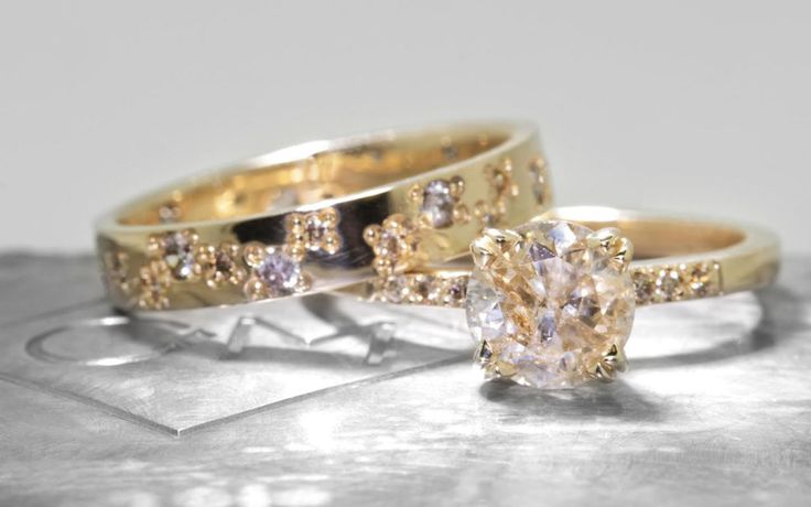 1.38 Carat Champagne Diamond Ring in Yellow Gold