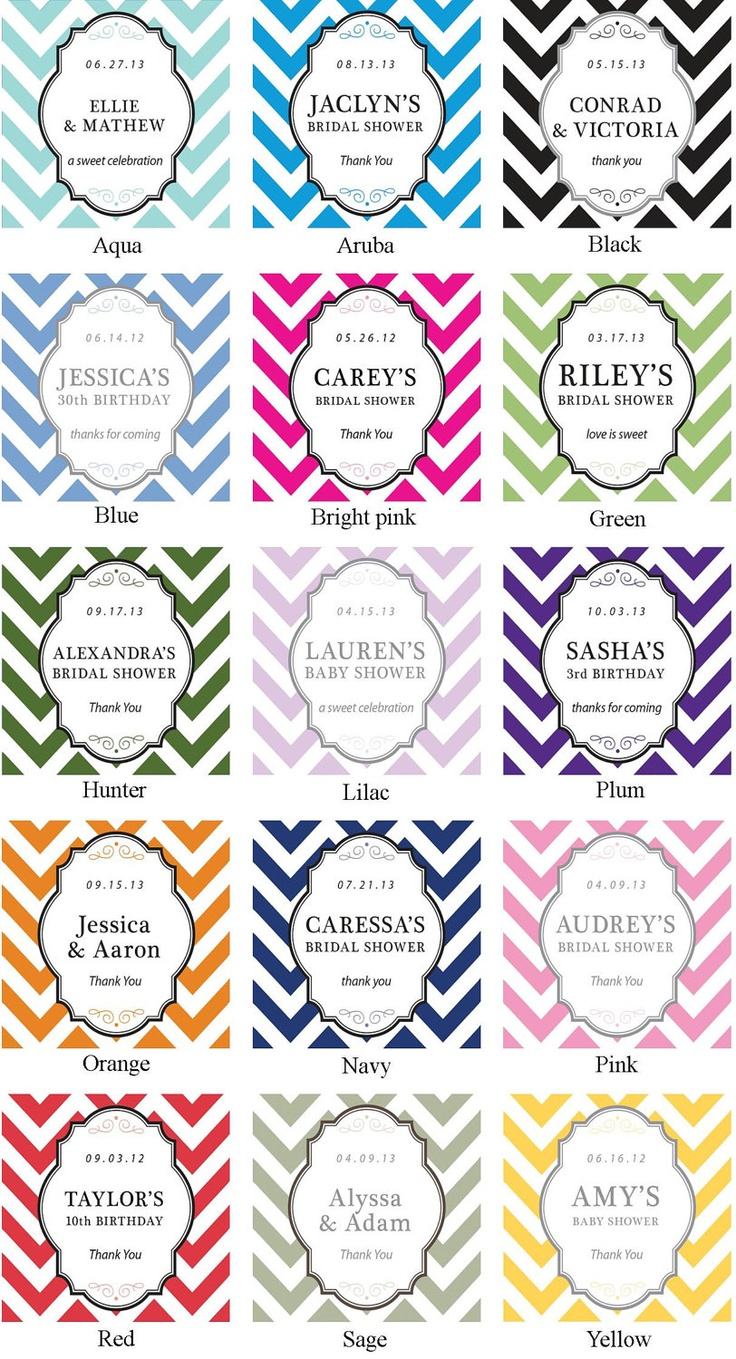 24 Baby Shower Favor Bags with Personalized Chevron Label -  Candy Bags, Cookie Bags - ANY COLOR - candy buffet bags, cookie buffet bags