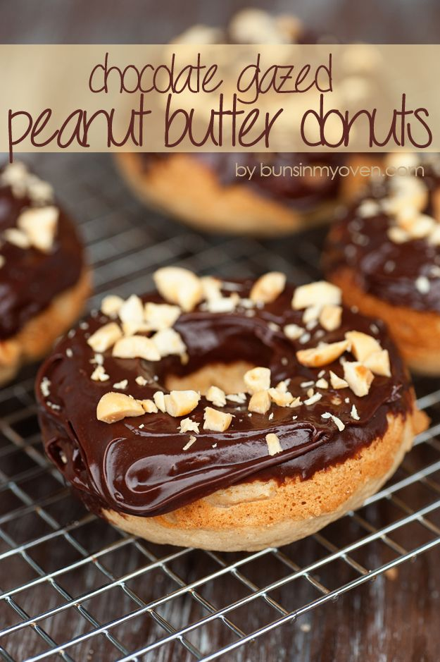 peanut butter donuts with chocolate glaze recipe by bunsinmyoven.com