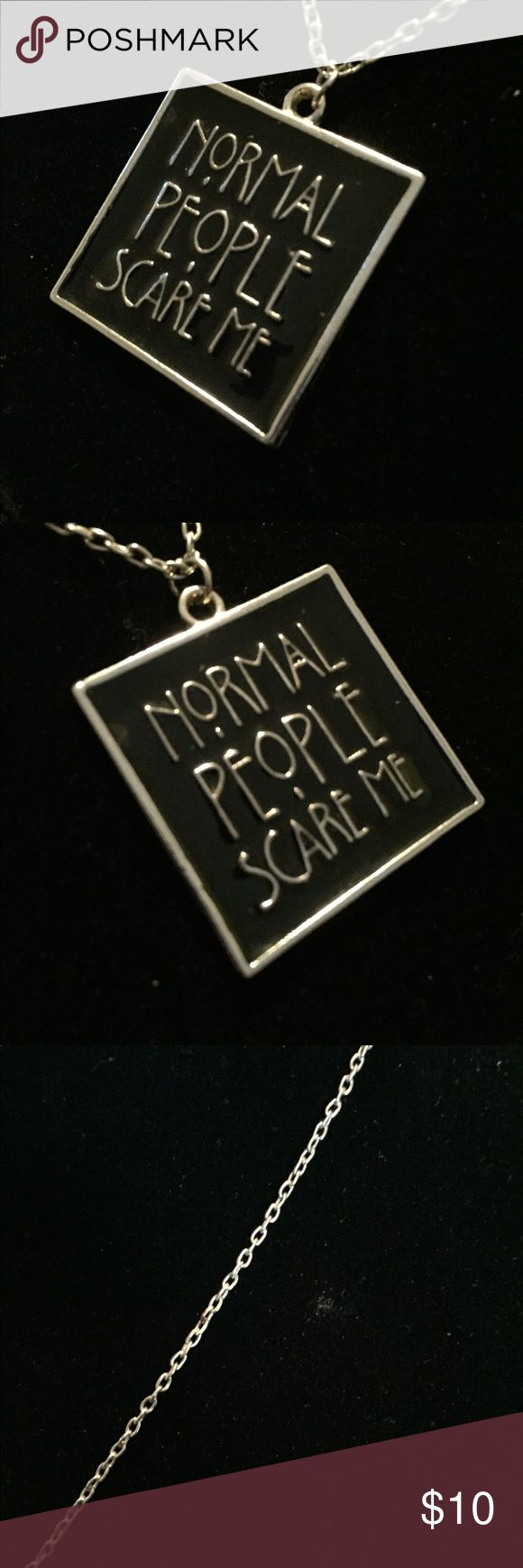"Cult Of Personality American Horror Story Necklace Cult Of Personality, American Horror Story, Normal People Scare Me, Pendant Necklace. The Pendant Is Silver Tone Metal With Black Enamel.  Measurements:  Pendant - 1.25"" Tall x 1.25"" Wide Necklace Chain - 22"" Long Fully Adjustable To Any Size New With Tags.  There are of three of these currently available. Emporiama's Cult Of Personality Jewelry Necklaces"