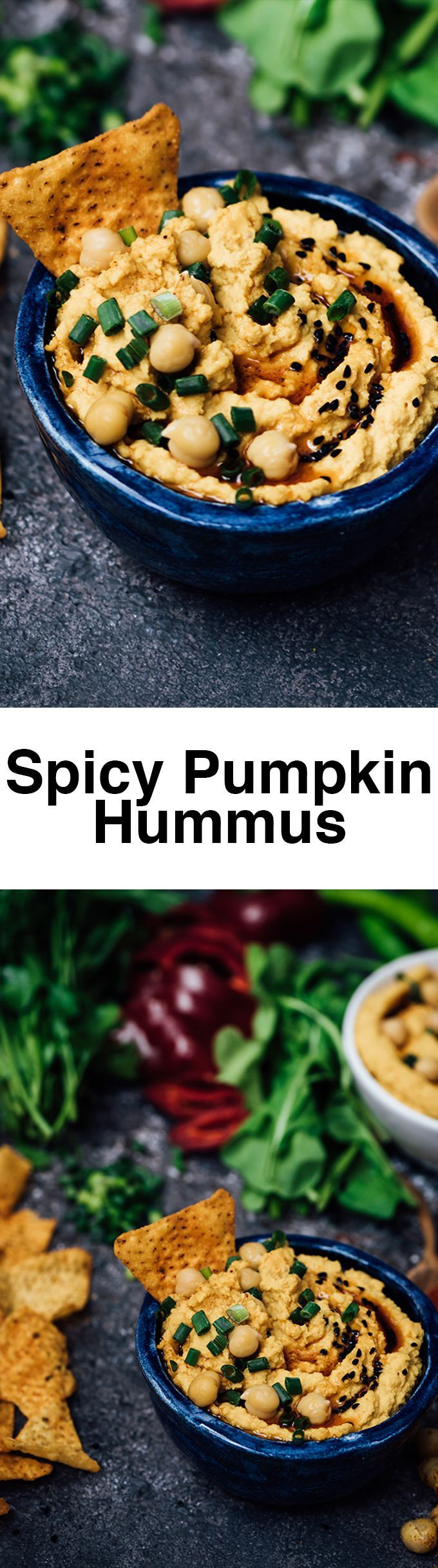 Spicy Pumpkin Hummus is a perfect appetizer for your fall parties. I can proudly say that this is the best hummus I've ever made. We love the subtle pumpkin taste in our regular hummus. Plus it has got a super food that nobody can notice.