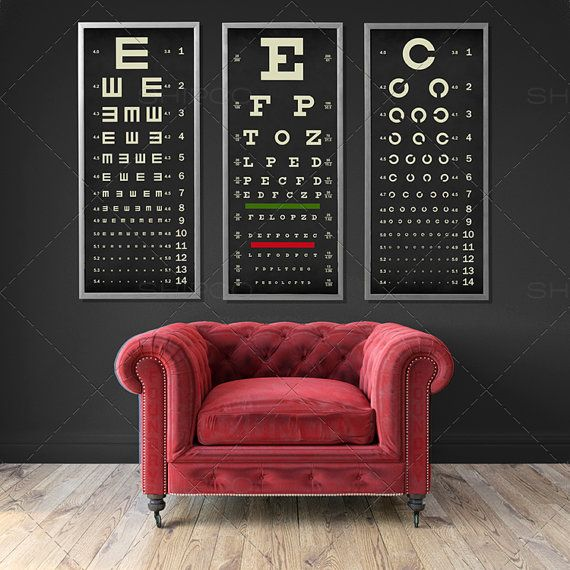 EYE CHART Print Triptych Typography Poster Snellen by FoundryCo