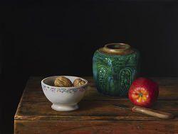 Gemberpot en appel   schilderij van een stilleven in olieverf van Herman Tulp   Exclusieve kunst online te koop in de webshop van Galerie Wildevuur