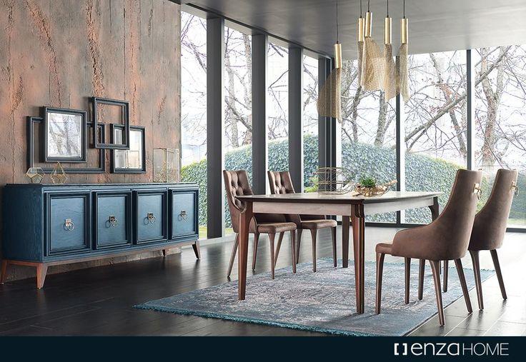 Prusya Mavisi ahşap yüzeyi ve altın rengi özel tasarım kulpları ile şıklık ve doğallığı bir arada sunan 2017 lansman ürünü Elegante Yemek Odası evlerinizde benzersiz bir atmosfer yaratıyor.
